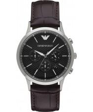 Emporio Armani AR2482 Heren Classic chronograaf donker bruin lederen band horloge