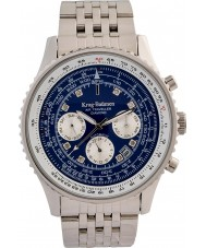 Krug-Baumen 600304DSA Mens luchtreiziger diamanten zilveren stalen armband horloge