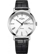 Rotary GS05300-01 Mens uurwerken Windsor staal, zwart lederen band horloge