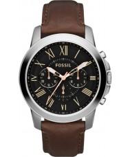 Fossil FS4813 Mens verlenen zwart bruin chronograaf